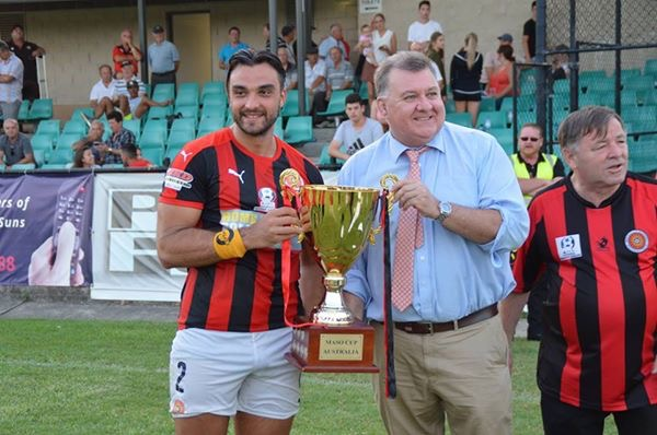 Federal MP Craig Kelly presenting Captain Daniel Petkovski the Maso Cup
